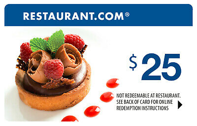 $25 Restaurant.com Gift Card Cert Eat Local or Nationwide No Expiration Date