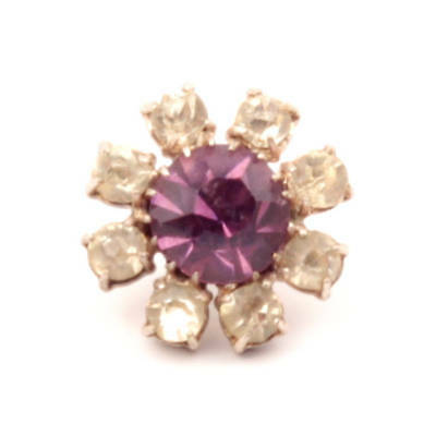 Antique Victorian C19th Czech amethyst and crystal glass rhinestone metal button