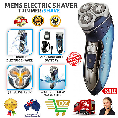Mens Electric Shaver Cordless Rechargeable Waterproof Pop Up Trimmer iShave