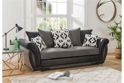 Grey & Black 3 Seater Fabric & Faux Leather Sofa -Refurbished Revolution Trading