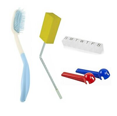 Home Aids Bundle - Long Handled Hairbrush and Sponge, Pill Reminder & Tap Turner