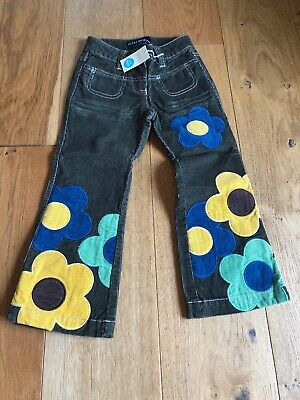 Mini Boden Girls Boot Cut Green Cords Flowers Hippy Flare Trousers Jeans Age 5