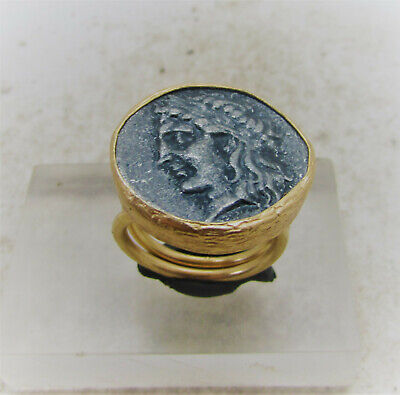 Beautiful Ancient Roman Style Gold Gilded Ring With Roman Coin Insert