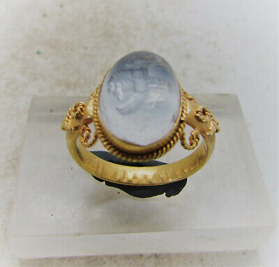 Ancient Greek Gold Ring High Carat Gold Agate Intaglio Of Mythic Beast