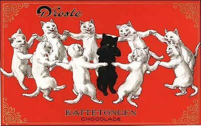 Vintage Dutch Dancing Cats Chocolate Advertising Poster A3 / A2  Reprint