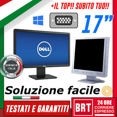 "Pc Monitor Lcd 17"" Pollici (Dell,Hp,Lg) Vga Display Per Desktop Grado A! +Base!!"
