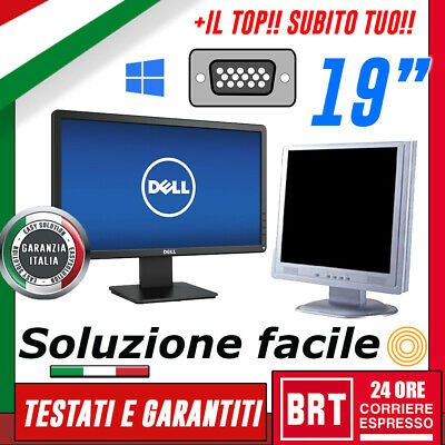 "Pc Monitor Lcd 19"" Pollici (Dell, Hp)Dvi Vga Widescreen Per Desktop Grado A+Base"