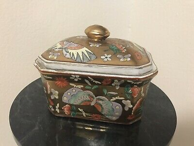 Vintage Oriental Porcelain Trinket/Jewelry Box Gold Floral & Butterflies/Moths