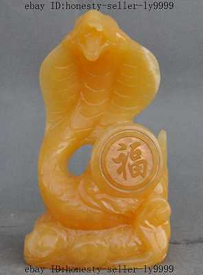 "8""chinese natural yellow jade pure hand-carved zodiac snake Serpent lucky statue"