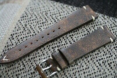 Genuine Italian leather watch strap Vintage style look brown 20mm lug size