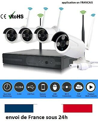 Kit Complet 4 Camera Video Surveillance Wifi 5G Complet Dvr Hd Ip Cam