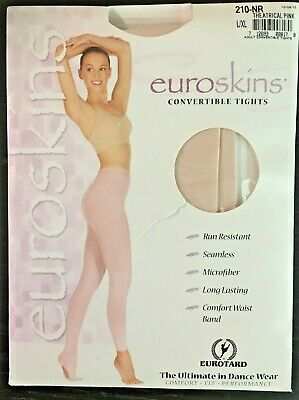 629da7e93a05c NEW EUROTARD EUROSKINS Footed Tights Theatrical Pink Ladies Dance ...