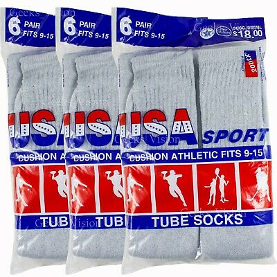 6 12 Pairs Mens Cotton Athletic Sports Cotton Socks Size 9-15 Grey Made In USA