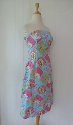 61da25ec962b Lilly Pulitzer Strapless Dress Patchwork Print Pastel Tie Back Pink Blue S 6