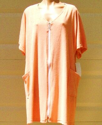 cc0c04e1b3 Cotton /Poly Short Sleeve Zip Up Terry Cloth Cover Up /Robe w/ Pockets