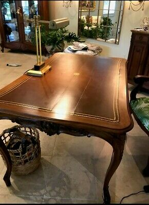 Antique French Desk Brown Leather top 19th Century Drawers on either side.