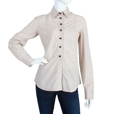 f50584193 Auth GUCCI Women's Long Sleeve Shirt Blouse Size 44 Wooden Buttons Striped  L 8