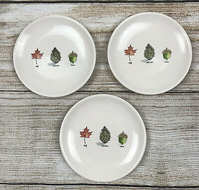 Rae Dunn Artisan Collection Appetizer Plates Set Of 3 Leaf Pinecone Acorn