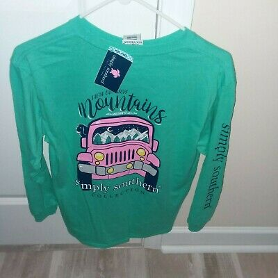 bb9f4a8a4 NWT Simply Southern Long Sleeve T Shirt Faith Move Mountains L LARGE YOUTH  GIRLS