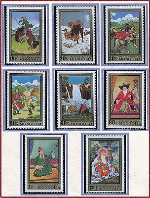 MONGOLIE N°604/611** Tableaux chevaux...1972, MONGOLIA Paintings Set MNH