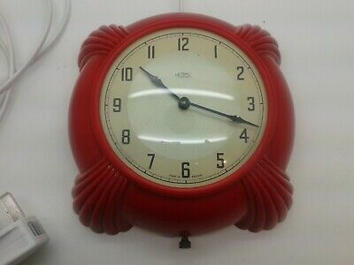 Superb  New Rare Red Bakeliite Art Deco Metamec Electric Kitchen Clock