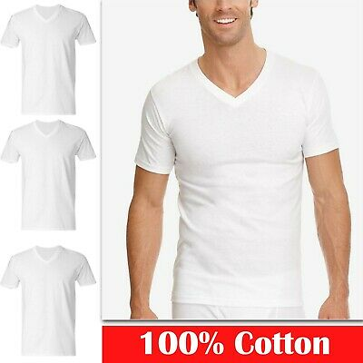 3 6 Pack Mens 100% Cotton V-Neck Tagless T-Shirt Undershirt White S-XL