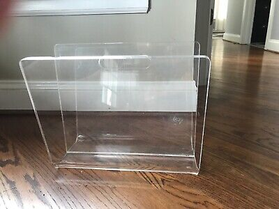 Vintage Akko Lucite Acrylic Magazine Rack Two Sides Handle Original Tag