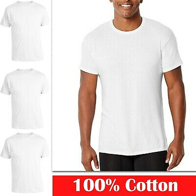 3 6 Pack Mens 100% Cotton Tagless Round Crew Neck T-Shirt Tee Undershirt White
