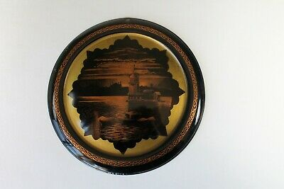 Vintage Metal Flue Cover Stove Pipe Vent Cover Skyline Scene Black Copper Color