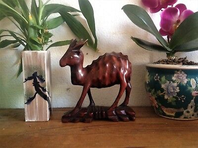 "Carved Oriental Chinese Antique Hardwood ""spotted"" deer statue figure okimono"