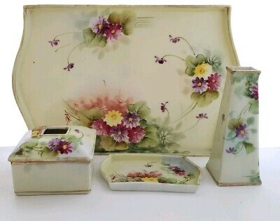 Vintage Te-Oh Nippon Dresser Set Hand Painted China 5 Pc Set Signed Vanity Set