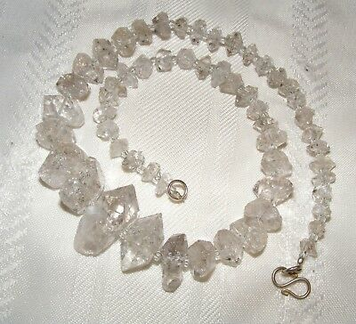New 100% Natural Herkimer Diamond Crystal Large Rough Mineral Necklace