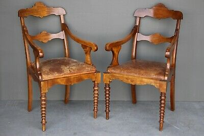 Pair antique French provincial Empire armchairs original leather Scandinavian