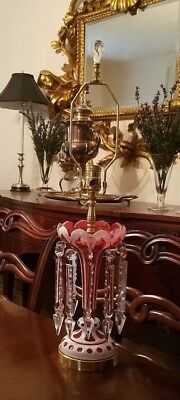Vintage Cranberry & White Vase-Style With Large Glass Prisms Table Accent  Lamp