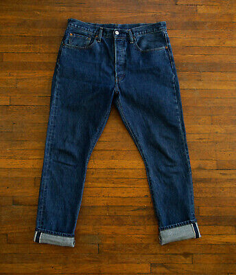 73591a7c259 Levis 501 S Skinny Fit Selvedge Denim Jeans Size 33x30 Actual GUC High Waist