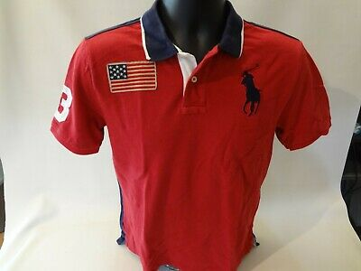 1db267569 RALPH LAUREN Big Pony USA FLAG Rugby POLO SHIRT Boys 14-16 RED Rugby #