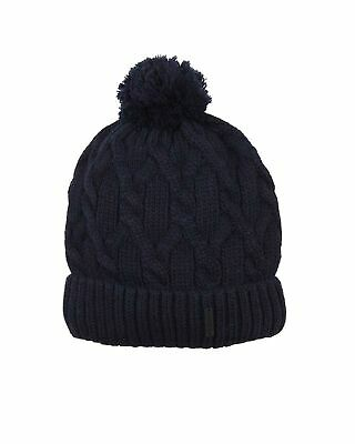 Barbaras Boys' Cable Knit Hat in Navy with Pompom, Sizes 2-10
