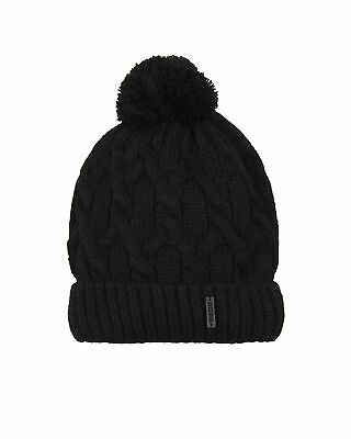 Barbaras Boys' Cable Knit Hat in Black with Pompom, Sizes 2-10