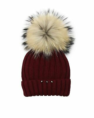 Barbaras Girls' Wool Beanie Hat in Red with Racoon Pompom, Sizes 2-12