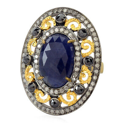 6.25ct Sapphire Pave Diamond 925 Sterling Silver 18kt Gold Cocktail Ring Jewelry
