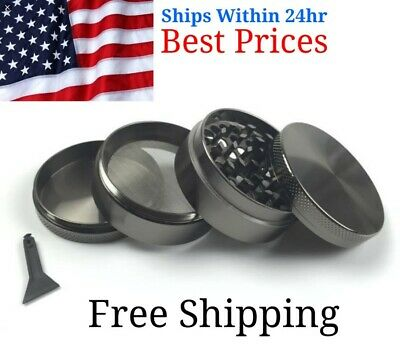 4 Piece Magnetic 2.5 Inch Black Herb Grinder Spice Aluminum With Scoop