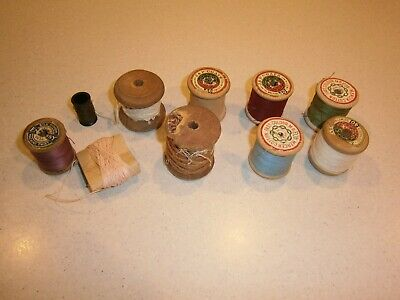 8 Vintage Wooden Cotton Reels With Cotton & Two Extra J&P Coats & Mercer Etc