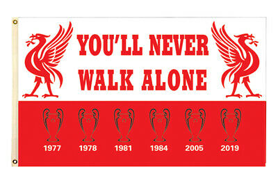 Liverpool Flag Banner3X5FTYou'll Never Walk Alone Polyester Premier 2Grommet/506