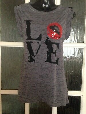 Select Love Long Grey Top Sequinned Lips VGC Size 8
