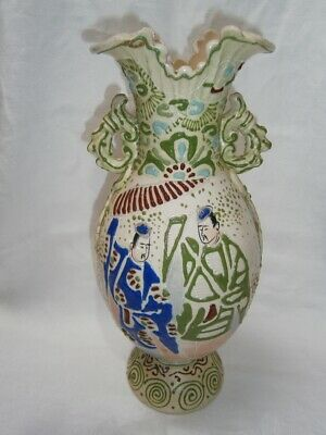 Antique  Hand Painted And Embossed Design Japanese Vase With Handles