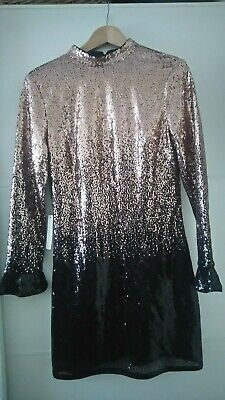 561fa94c8f57 BNWT LIPSY ABBEY Clancy Rose Gold Black Ombre Sequin Shift Dress ...