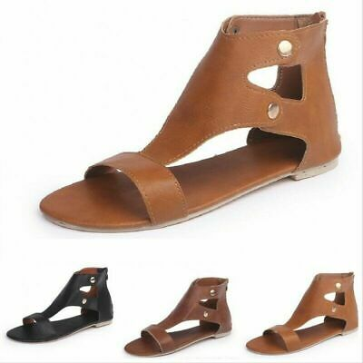 SEXY Women Roma Gladiator Roman Sandals Flat Open Toe Summer Beach Zipper Shoes