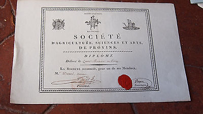 Empire 1805 Diplome De La Societe Des Sciences Et Des Arts De Provins