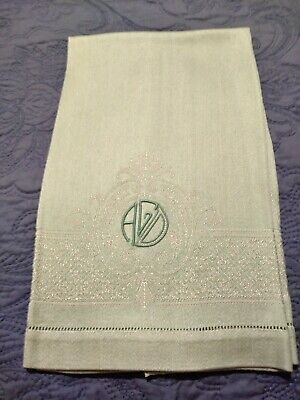 "Green Damask Polyester Towel 22"" by 15"" Hemstitched Embroidered Initials ""AGD"""