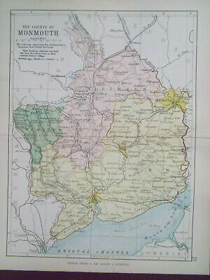 MONMOUTHSHIRE + RAILWAYS ANTIQUE BARTHOLOMEWS  MAP DATED 1890 7inx 9in